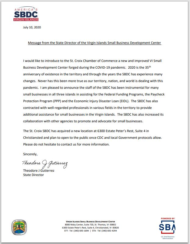 sbdc office opening letter